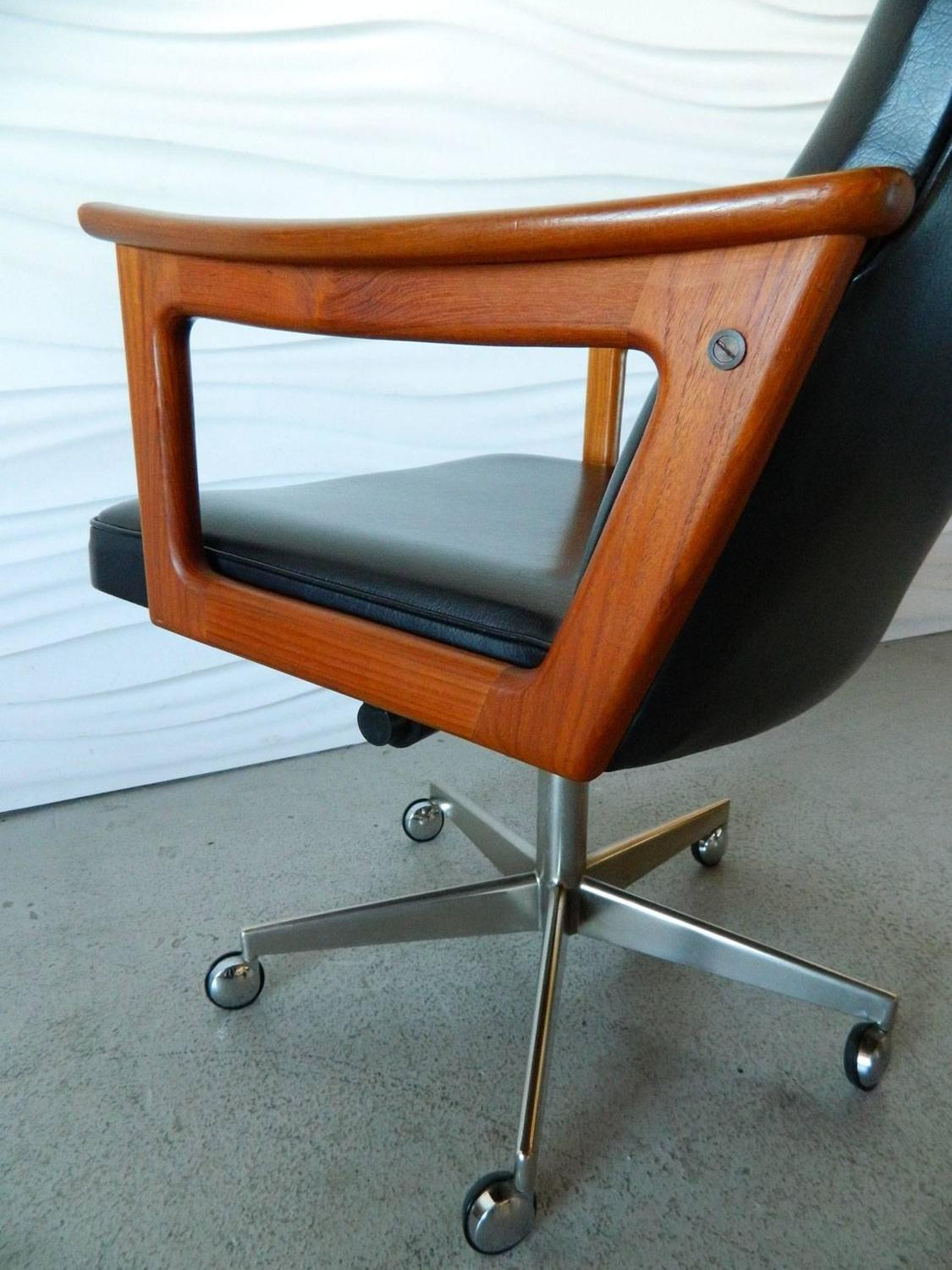 Mid Century Modern Danish Teak Desk Chair In The Style Of