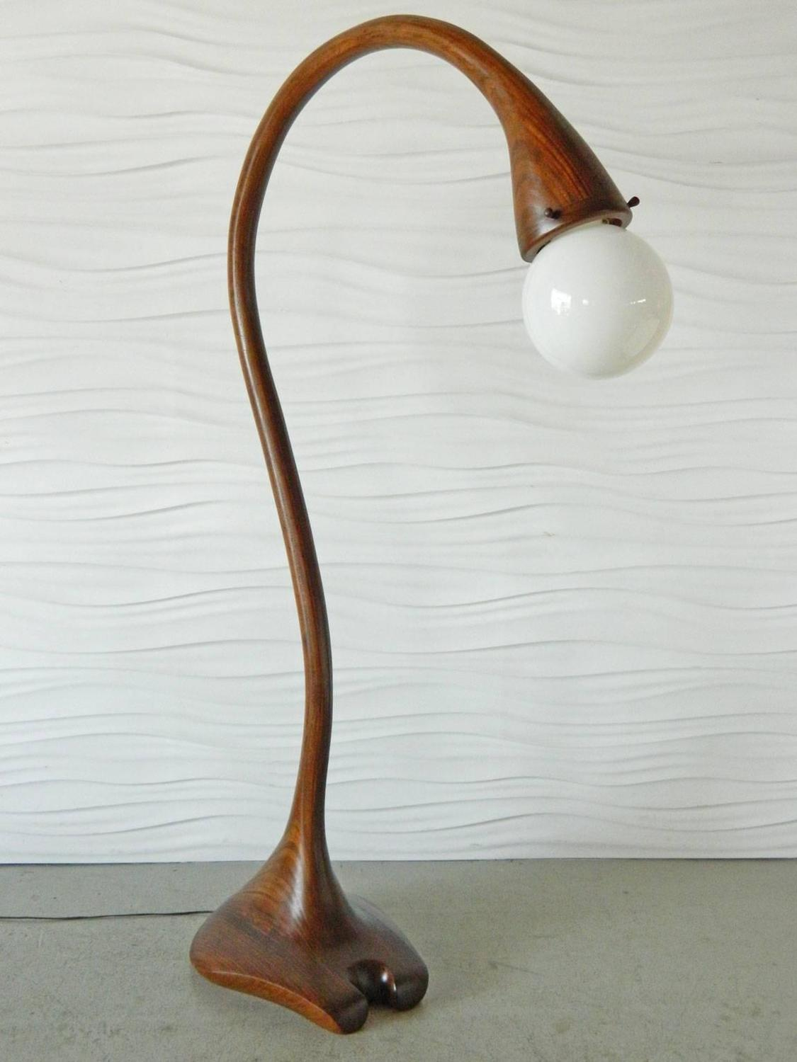 Studio Laminated Wood Arc Floor Lamp For Sale At 1stdibs