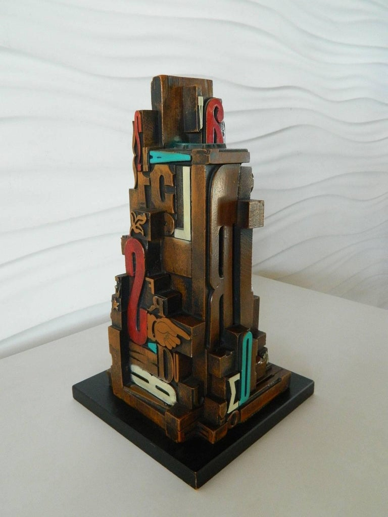 Mid-Century Modern Industrial Typeface Sculpture by Sheldon Rose 2
