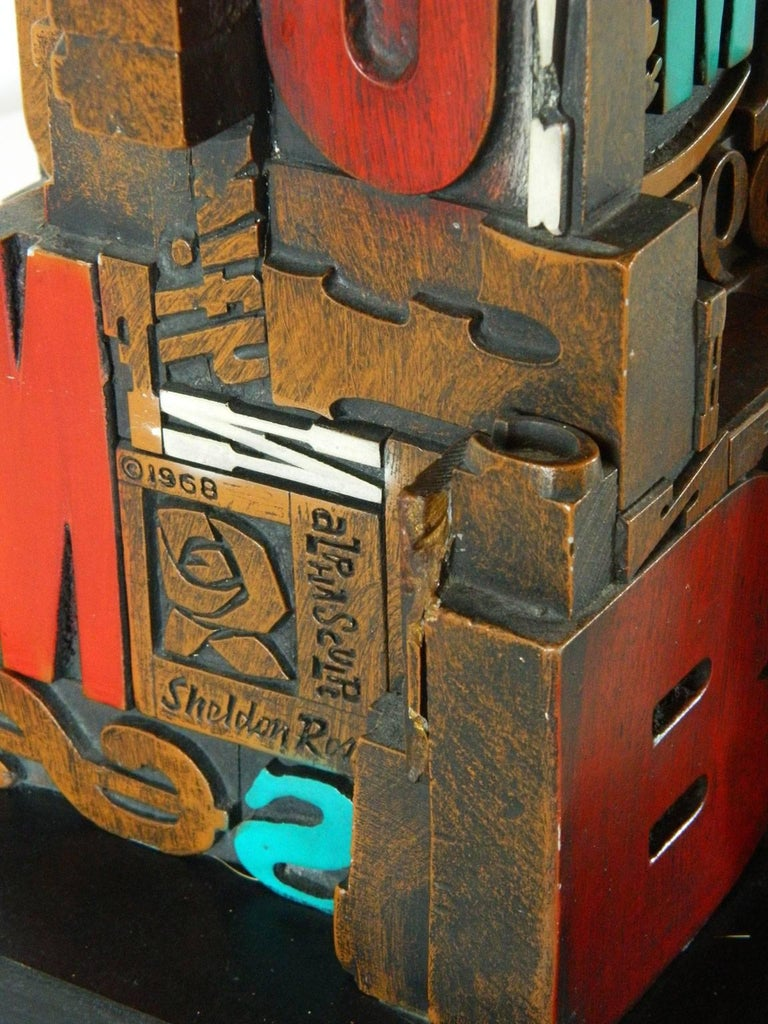 Mid-Century Modern Industrial Typeface Sculpture by Sheldon Rose 9