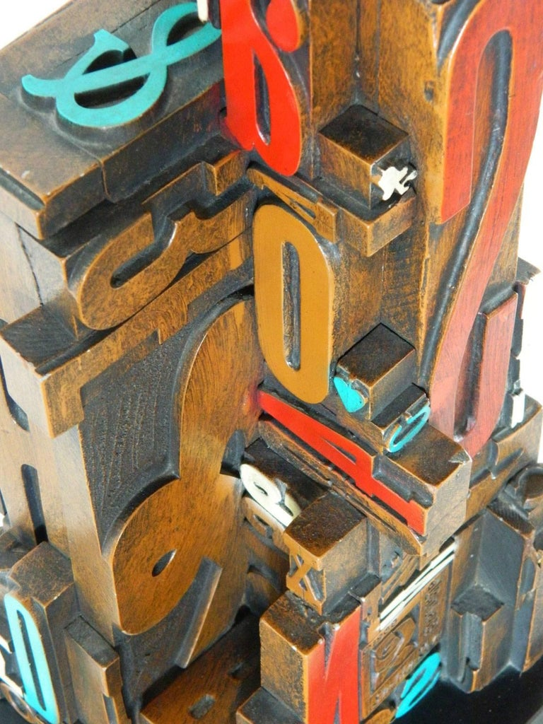Mid-Century Modern Industrial Typeface Sculpture by Sheldon Rose 7