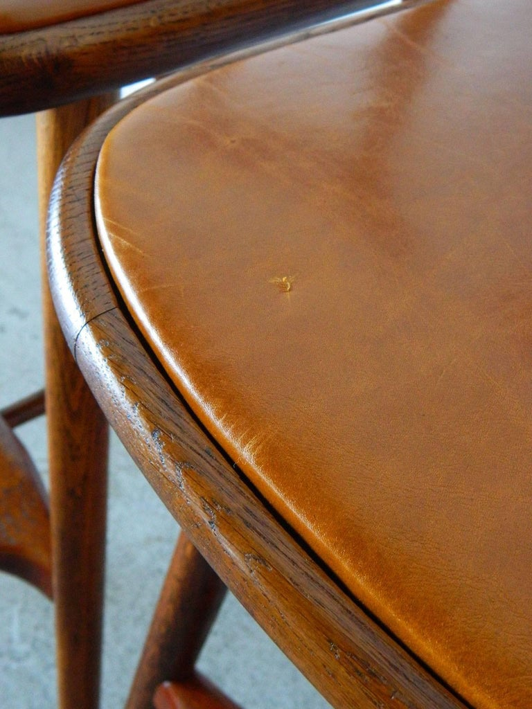 Pair of Vilhelm Wohlert Oak Stools In Good Condition For Sale In Baltimore, MD
