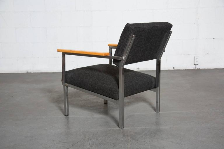 Dutch  Spectrum Lounge Chair in Charcoal and Chrome For Sale
