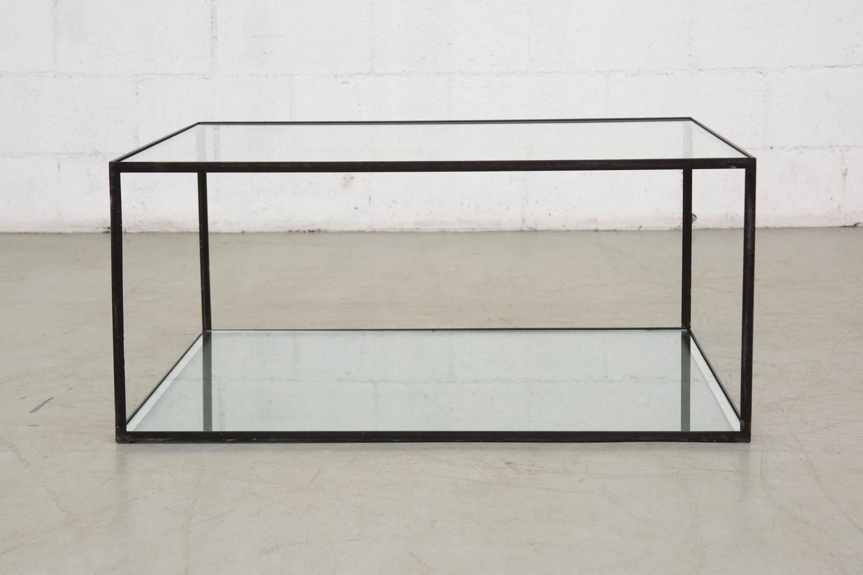Minimal Black Framed Cube Coffee Table At 1stdibs
