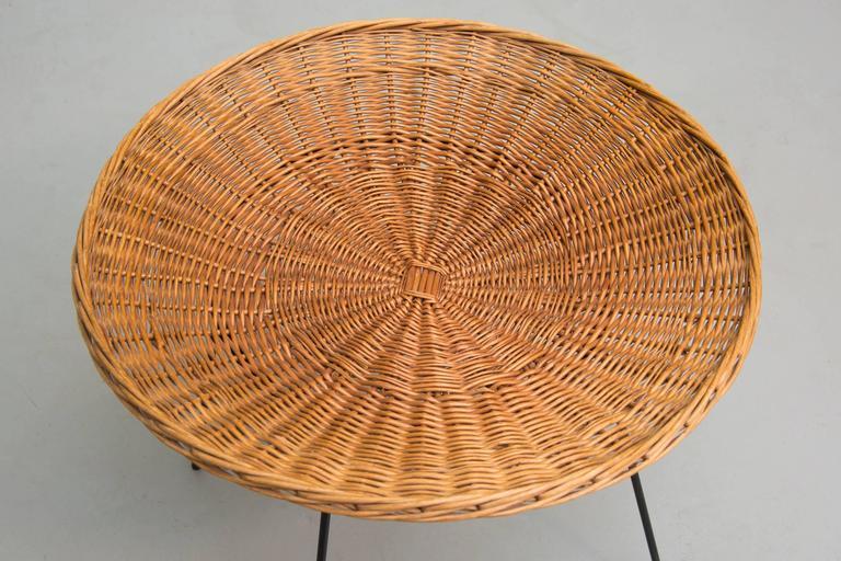 Woven Rattan Basket Side Table at 1stdibs