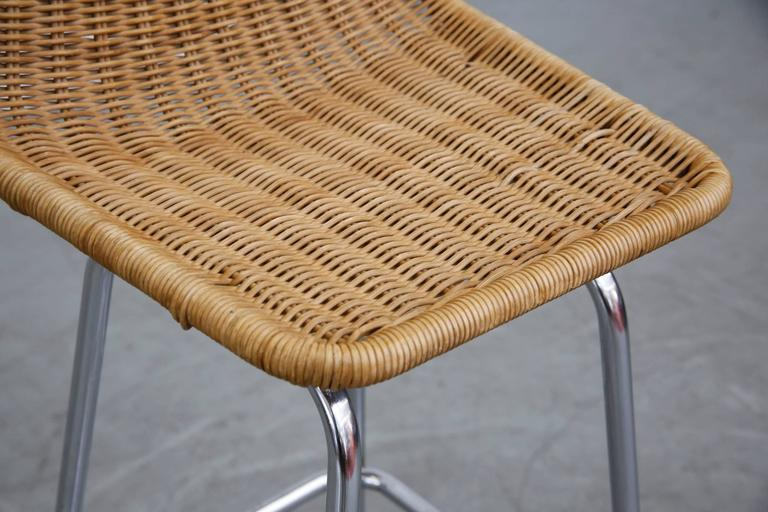 charlotte perriand inspired wicker and chrome bar stools at