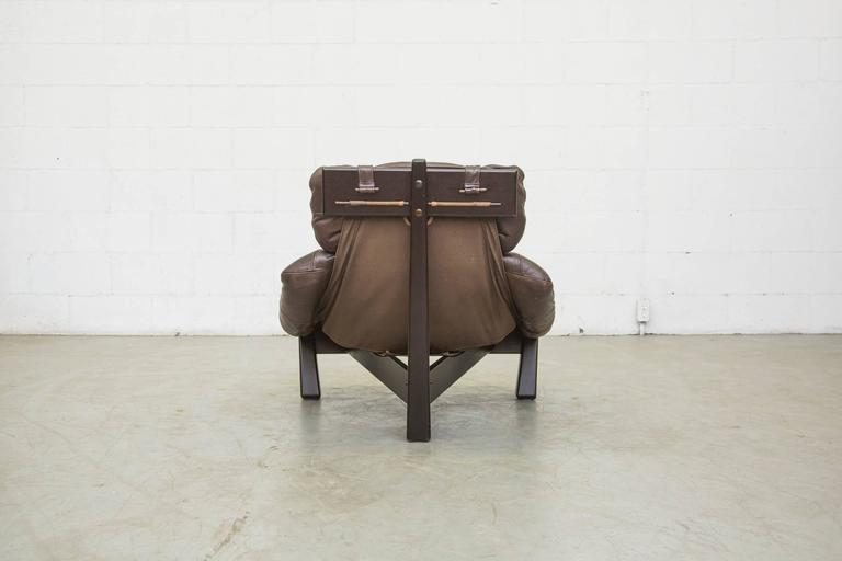 Mid-Century Modern Brazilian Inspired Leather Tripod Chair and Ottoman by Gerard Van Den Berg For Sale