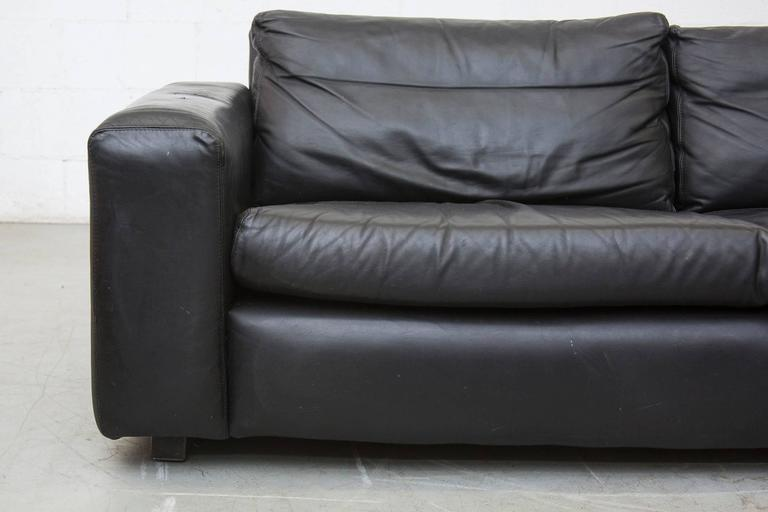 Extra Long Mid Century Leather Sofa At 1stdibs