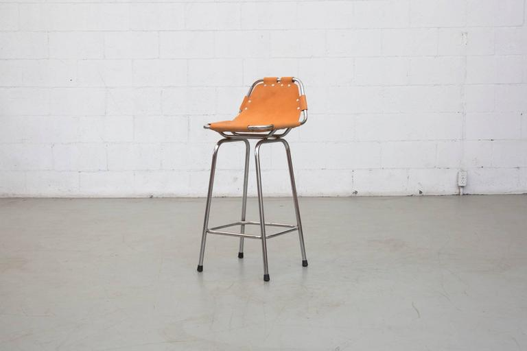 Pair Of Charlotte Perriand Style Leather Bar Stools For Sale At 1stdibs