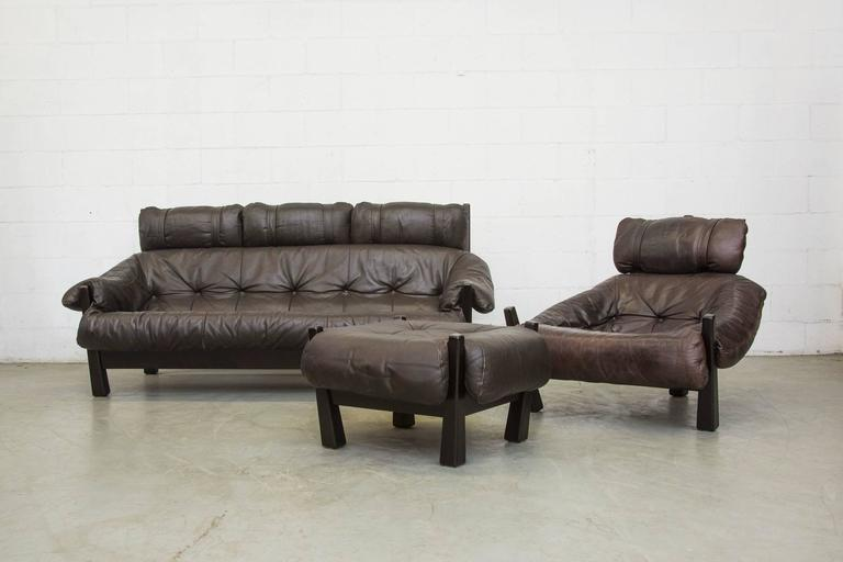 Late 20th Century Gerard Van Den Berg Brazilian Influenced Three-Seat Sofa For Sale