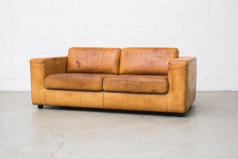 Peachy Amazing Natural Cognac Leather Loveseat By Durlet At 1Stdibs Machost Co Dining Chair Design Ideas Machostcouk