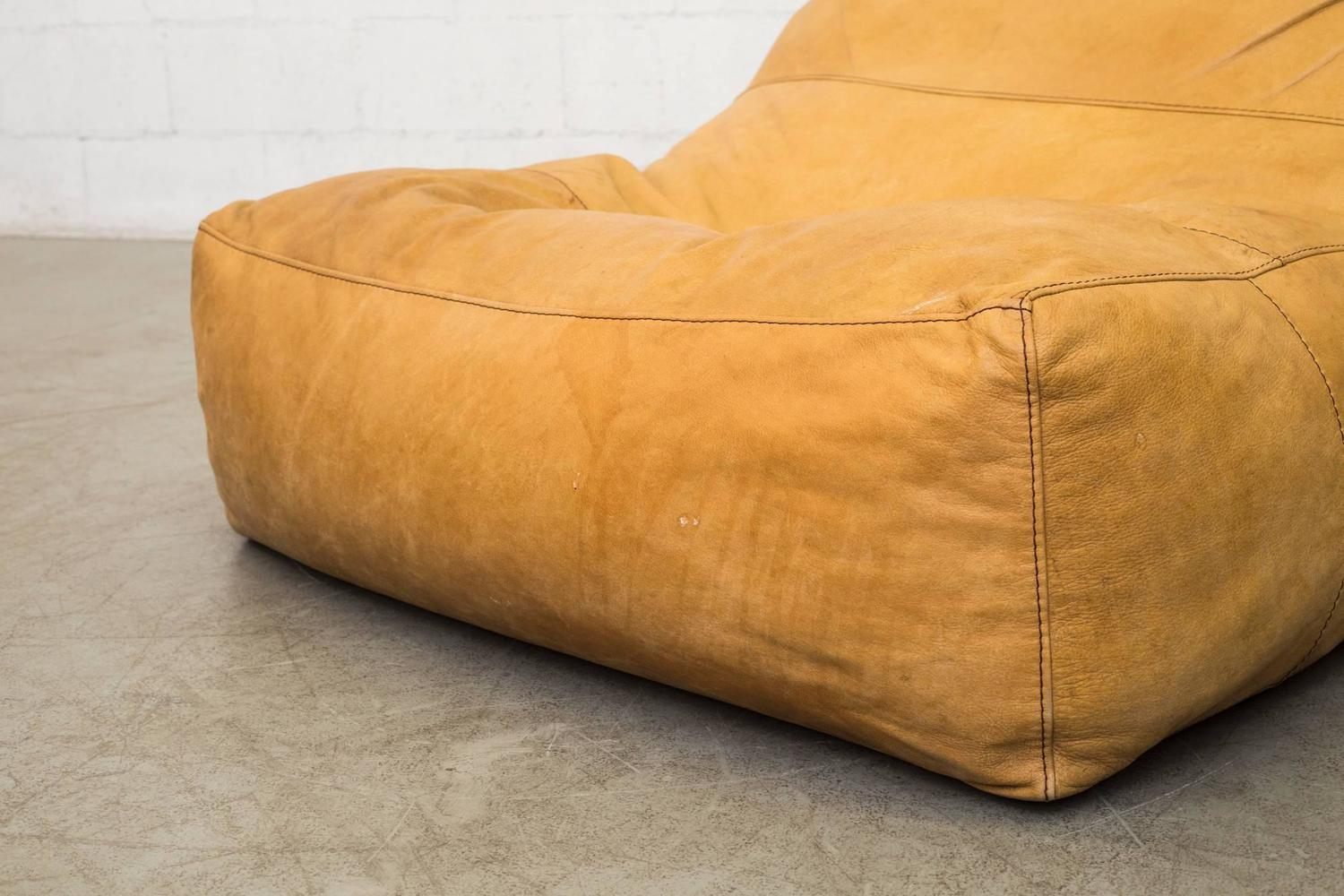 De Sede Style Leather Bean Bag Chair at 1stdibs