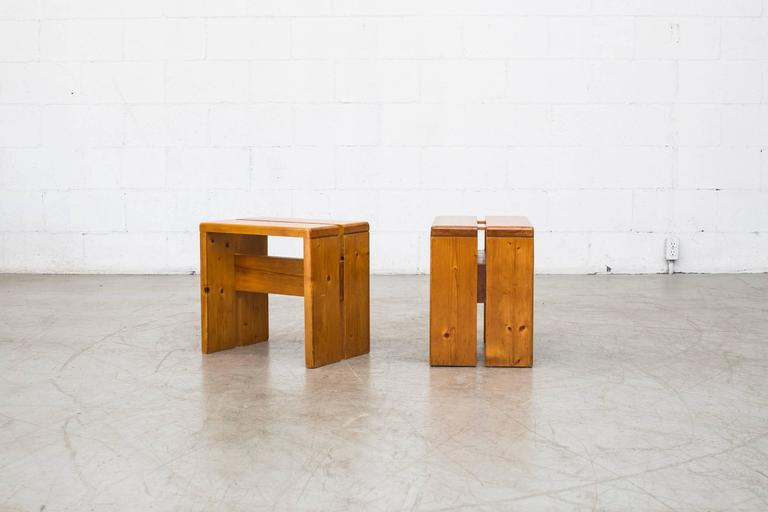 French Pair of Charlotte Perriand Solid Pine Stools for Les Arcs For Sale