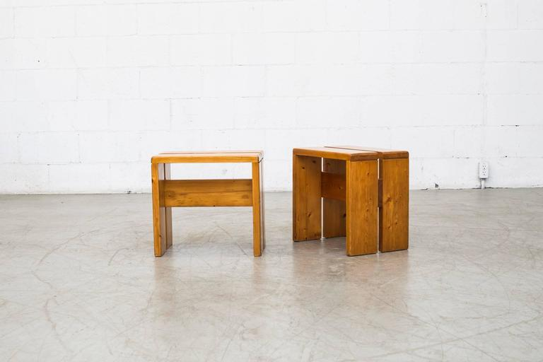 Mid-Century Modern Pair of Charlotte Perriand Solid Pine Stools for Les Arcs For Sale