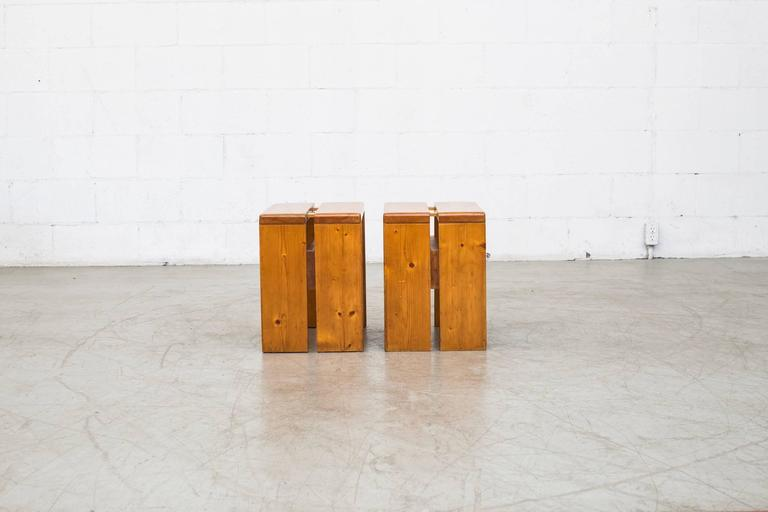 Pair of Charlotte Perriand Solid Pine Stools for Les Arcs In Good Condition For Sale In Los Angeles, CA