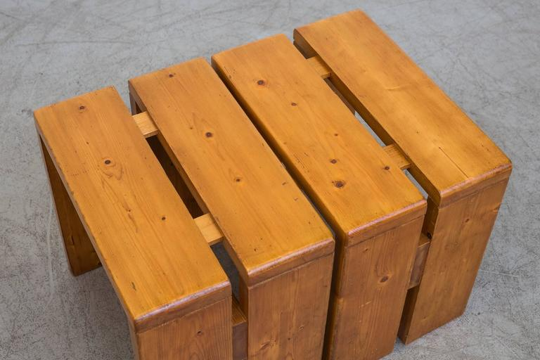 Pair of Charlotte Perriand Solid Pine Stools for Les Arcs 10