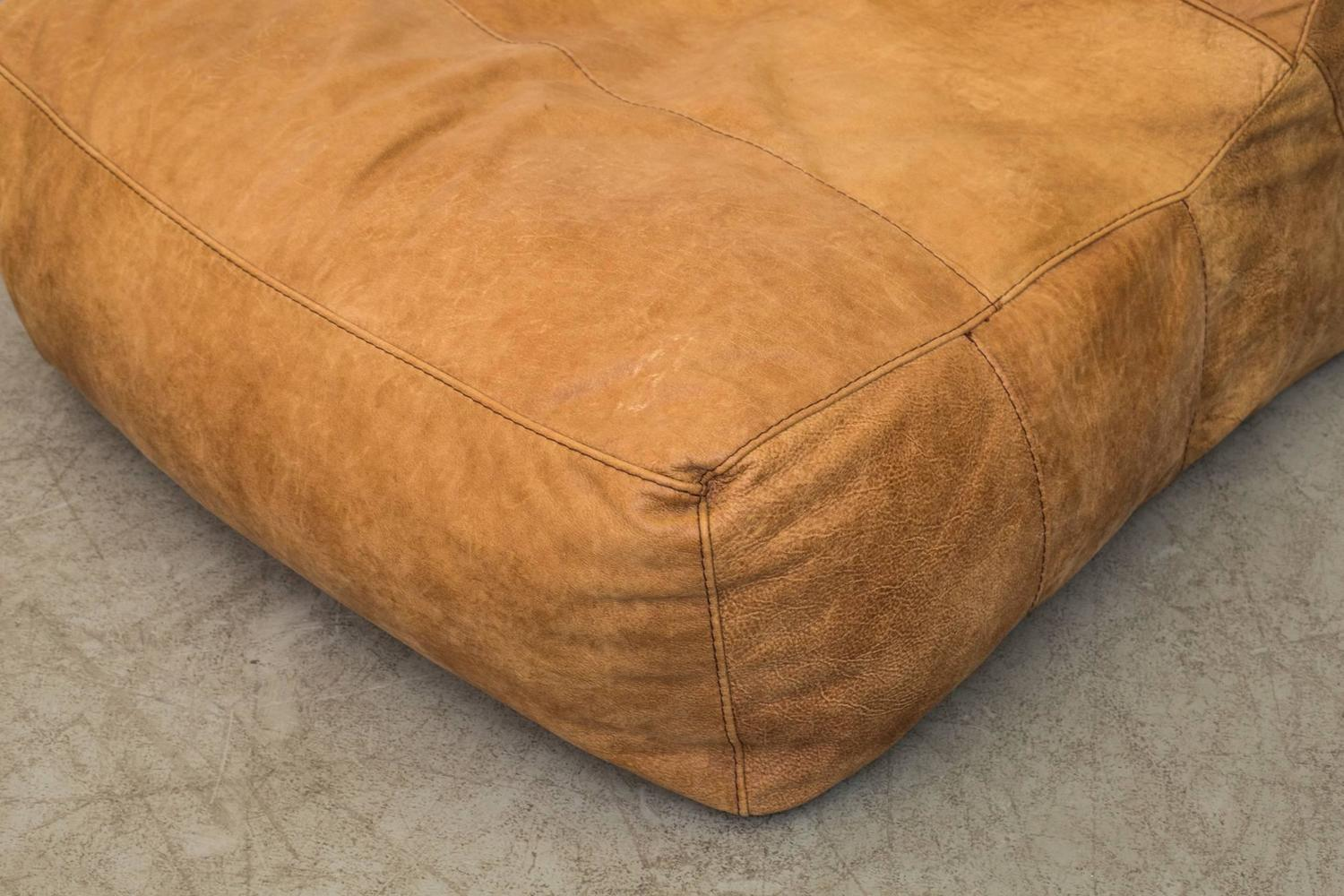 De Sede Style Leather Soft Form Bean Bag Lounge Chair at 1stdibs