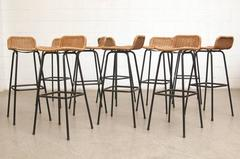 Set of 16 Charlotte Perriand Style Wicker Bar Stools