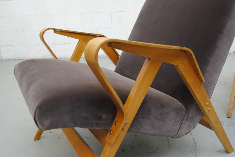 Pair of Czech Tatra Bent Plywood Lounge Chairs in Weimaraner Velvet 5