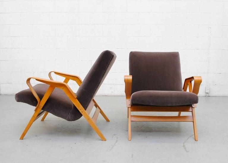 Pair of Czech Tatra Bent Plywood Lounge Chairs in Weimaraner Velvet 3