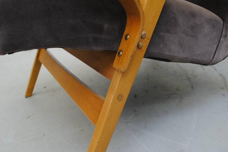 Pair of Czech Tatra Bent Plywood Lounge Chairs in Weimaraner Velvet 7