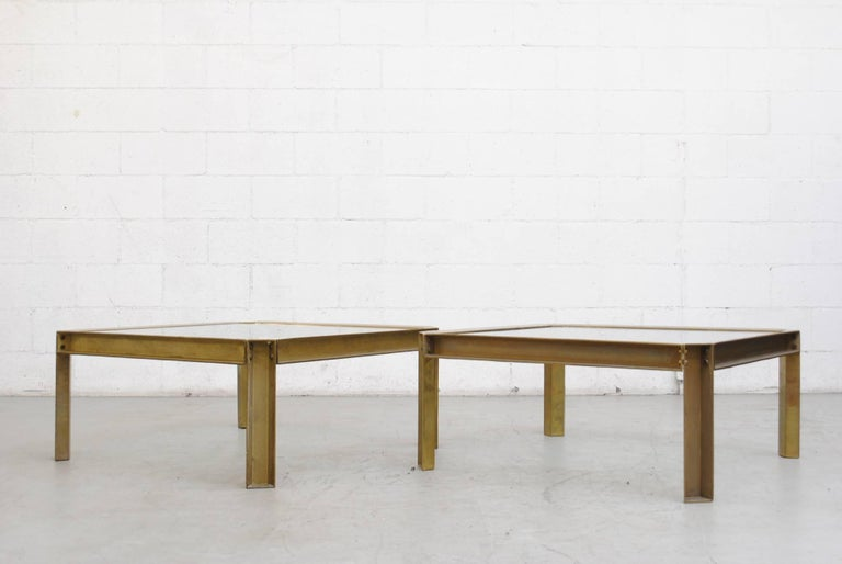 Peter Ghyzcy T09 Brass And Glass Industrial Style Coffee Table At 1stdibs