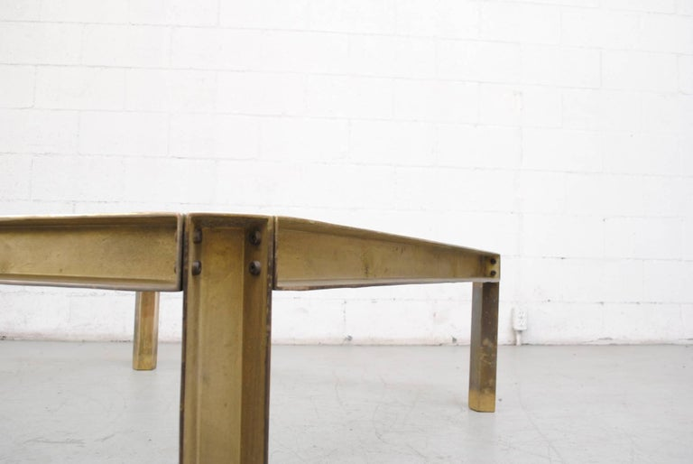 Giant Peter Ghyczy T09 Brass And Glass Industrial Style Coffee Table For Sale At 1stdibs