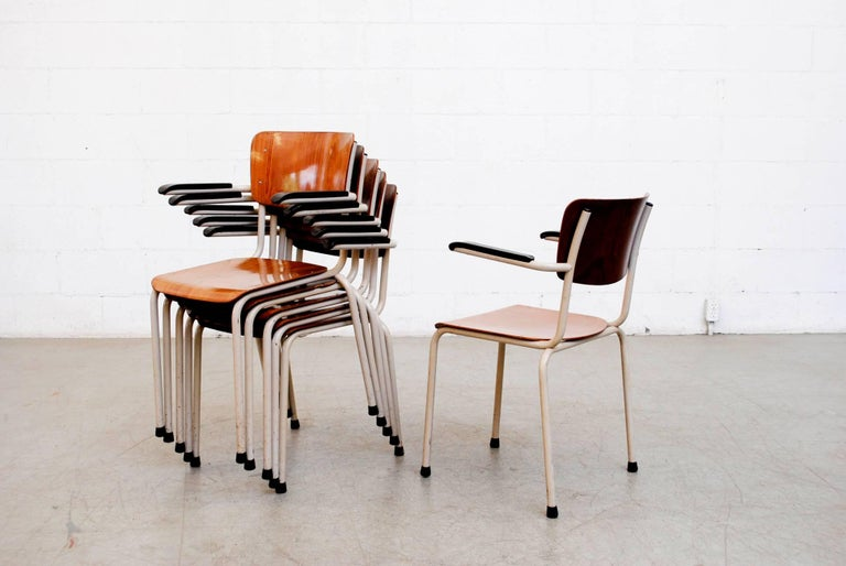 Mid-20th Century Gispen Stacking Plywood Armchairs with Bakelite Arm Rests For Sale