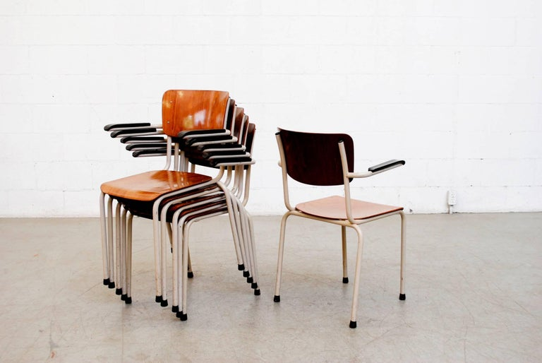 Enameled Gispen Stacking Plywood Armchairs with Bakelite Arm Rests For Sale