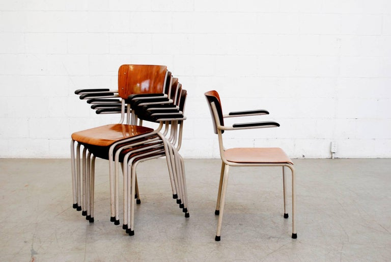 Dutch Gispen Stacking Plywood Armchairs with Bakelite Arm Rests For Sale