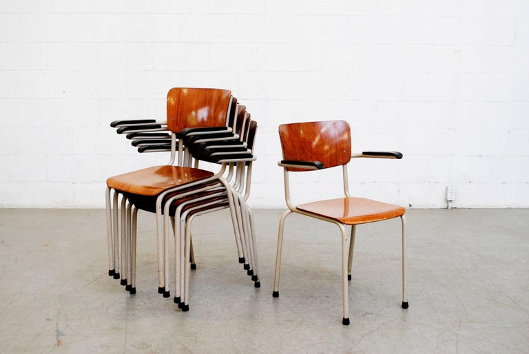 Mid-Century Modern Gispen Stacking Plywood Armchairs with Bakelite Arm Rests For Sale