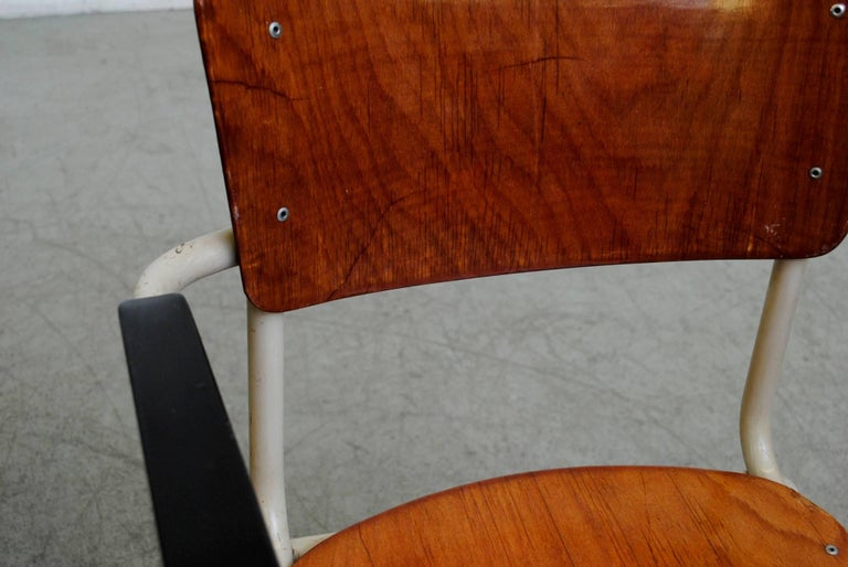 Metal Gispen Stacking Plywood Armchairs with Bakelite Arm Rests For Sale