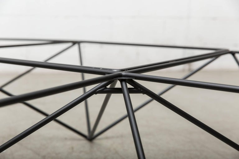 Metal Paolo Piva Black Wire Corner Coffee Table For Sale