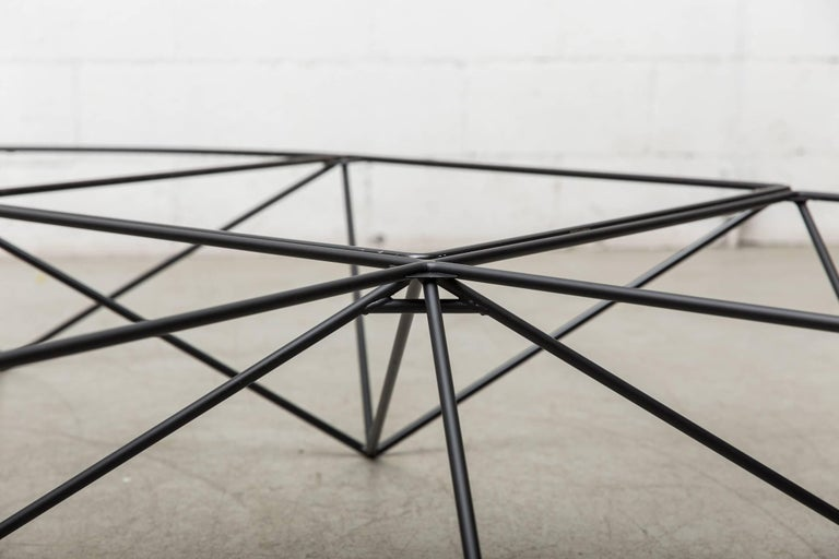 Enameled Paolo Piva Black Wire Corner Coffee Table For Sale