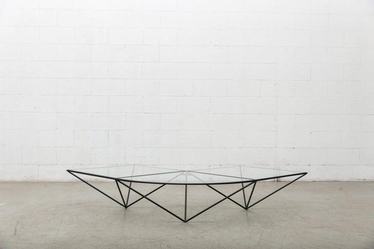 Italian Paolo Piva Black Wire Corner Coffee Table For Sale