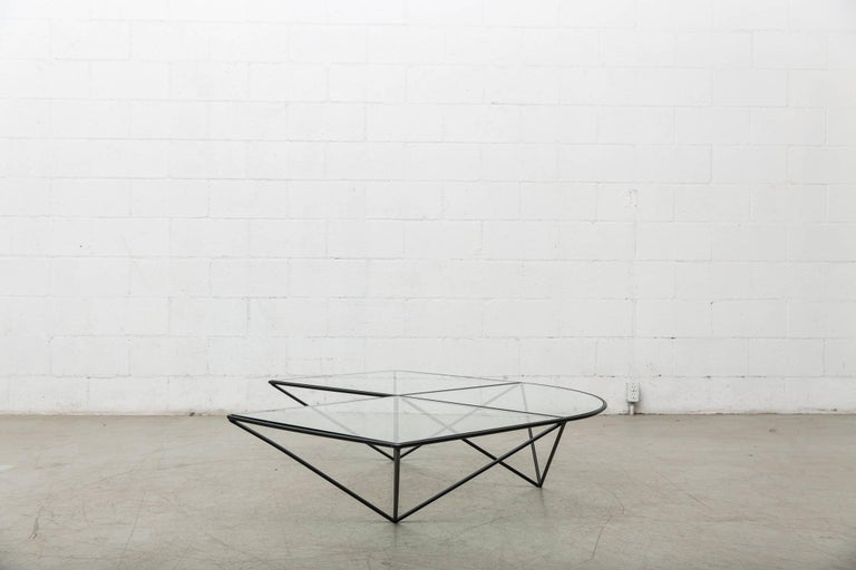 Mid-Century Modern Paolo Piva Black Wire Corner Coffee Table For Sale