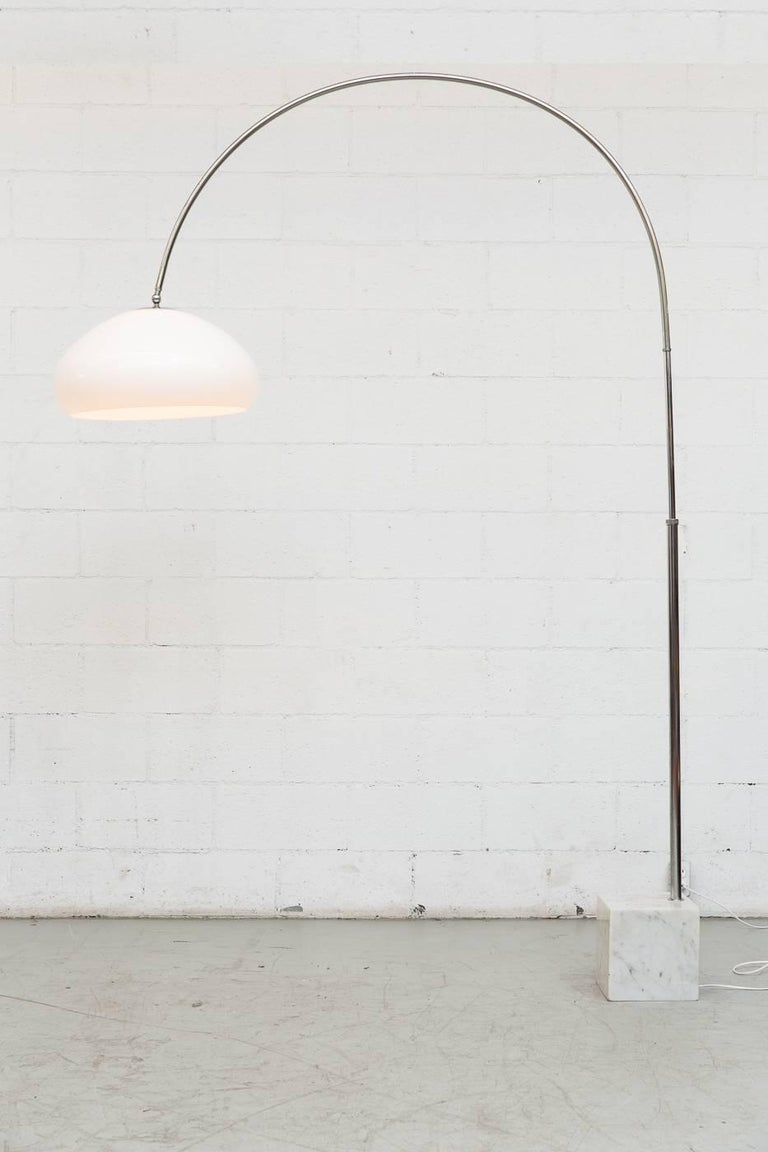 Dutch Large 1970s Arc Lamp with Cubic Marble Base For Sale