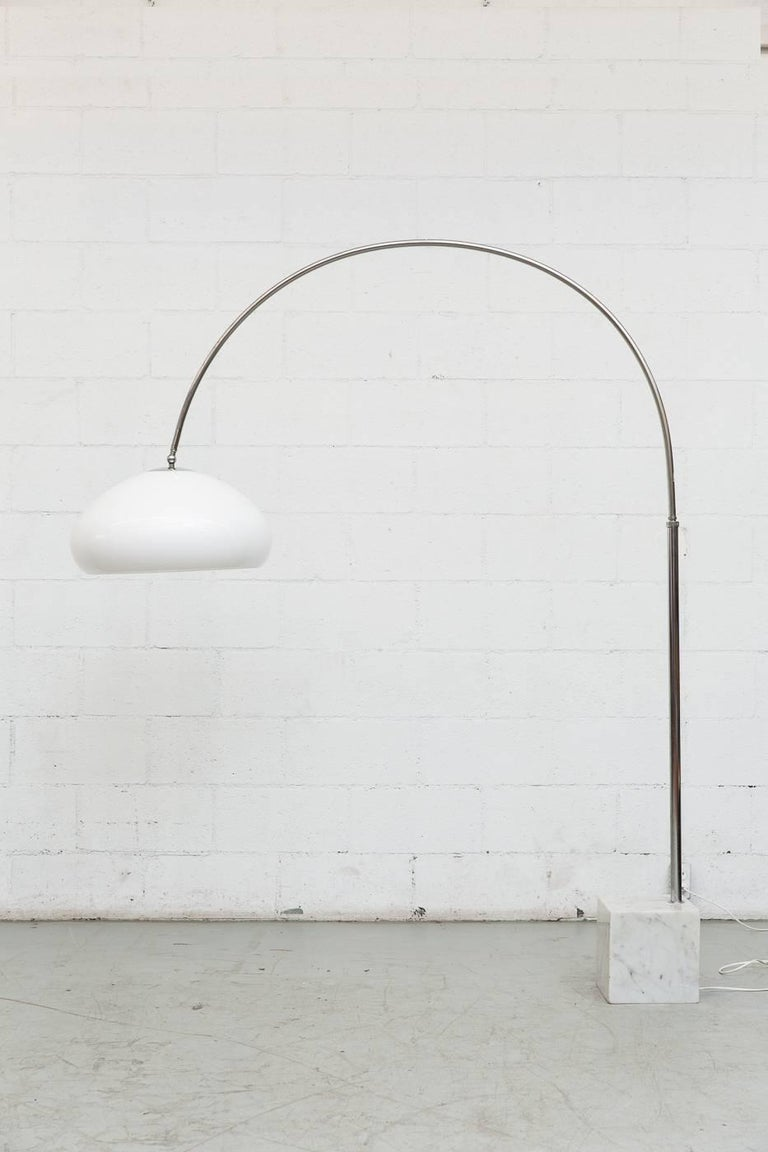 Large 1970s Arc Lamp With Cubic Marble Base For Sale At