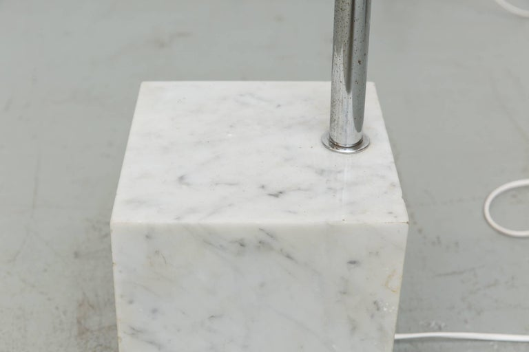 Chrome Large 1970s Arc Lamp with Cubic Marble Base For Sale
