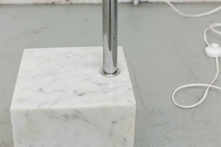 Large 1970s Arc Lamp with Cubic Marble Base For Sale 1