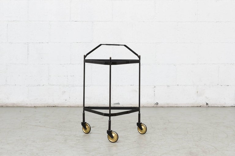 Mid-Century Modern Midcentury Rolling Cart with Removable Teak Trays For Sale