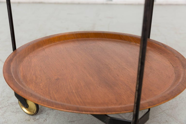 Midcentury Rolling Cart with Removable Teak Trays 6