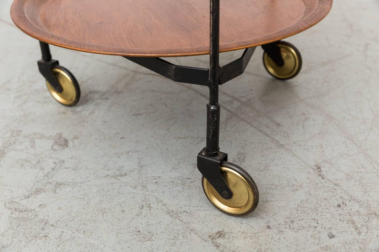 Mid-20th Century Midcentury Rolling Cart with Removable Teak Trays For Sale