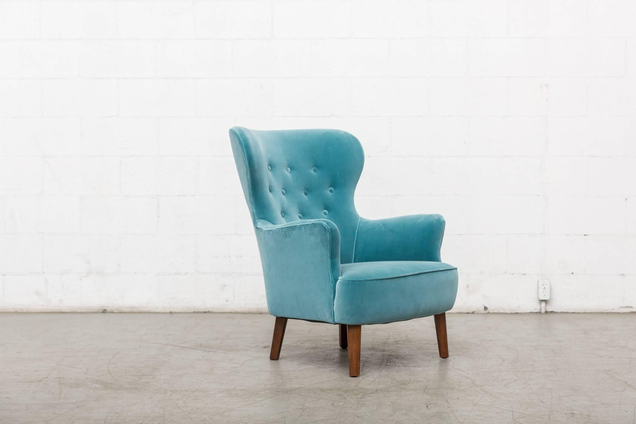 Mid-Century Modern Turquoise Theo Ruth Lounge Chair for Artifort For Sale & Turquoise Theo Ruth Lounge Chair for Artifort For Sale at 1stdibs