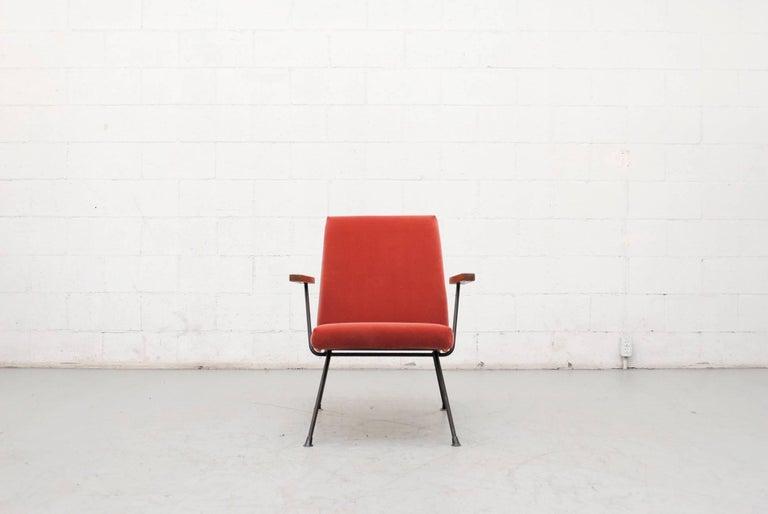 Mid-Century Modern Gispen 1409 Velvet Armchair For Sale