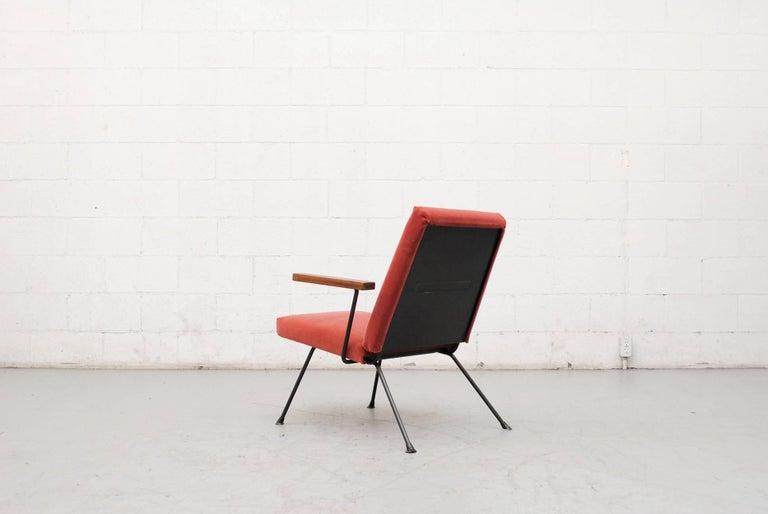 Enameled Gispen 1409 Velvet Armchair For Sale