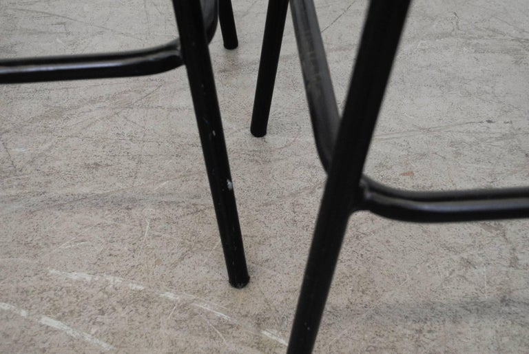 Pair of Charlotte Perriand Style Wicker Bar Stools In Good Condition For Sale In Los Angeles, CA