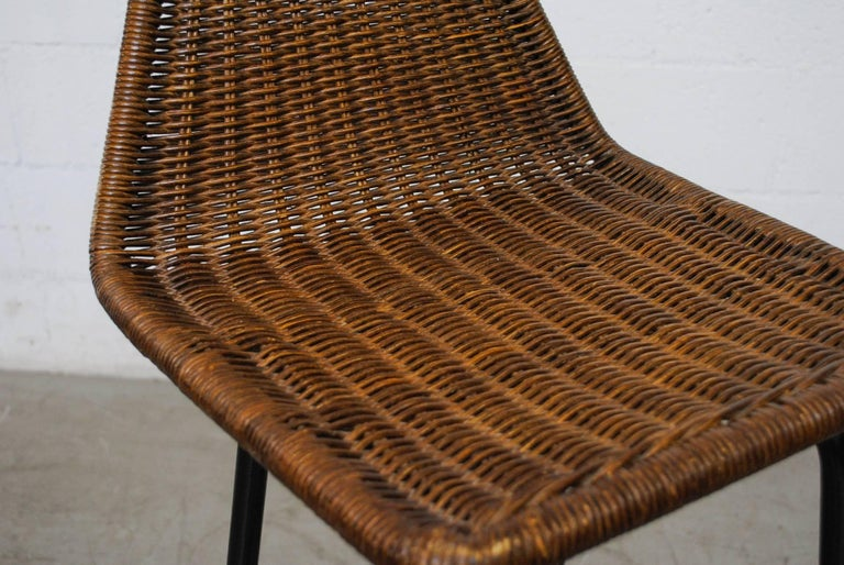 Dutch Pair of Charlotte Perriand Style Wicker Bar Stools For Sale