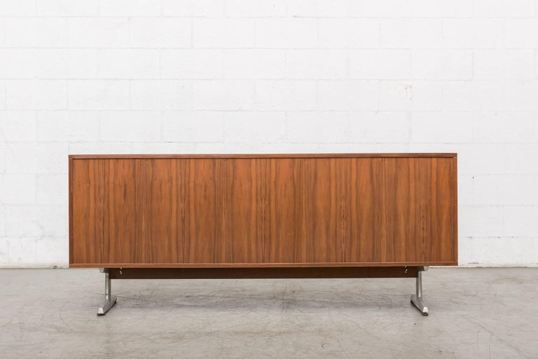 Mid-20th Century Teak Credenza with Tambour Doors For Sale