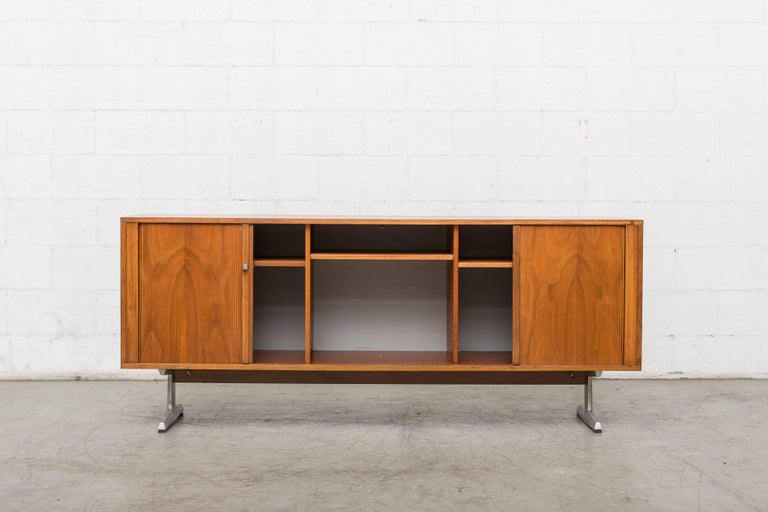 Enameled Teak Credenza with Tambour Doors For Sale